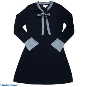 Nanette Lepore Stretchy Long Sleeve Sailor A-Line Navy Blue Dress Size Medium